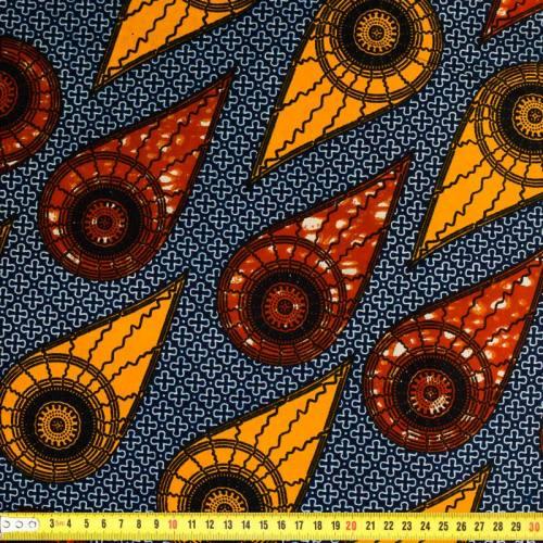Wax - Tissu africain bleu marine, safran et rouille 385