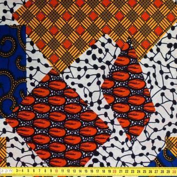 Wax - Tissu africain motif patchwork 392