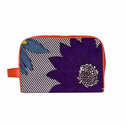 Wax - Tissu africain rayé motif fleur bleue et jaune 395