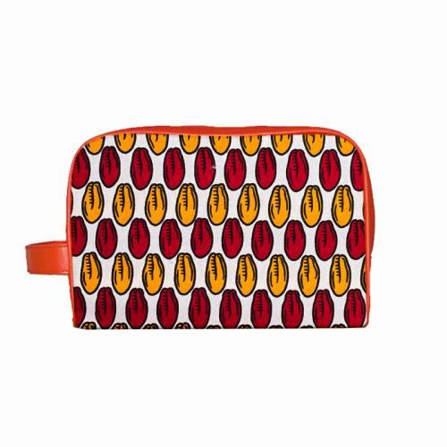 Wax - Tissu africain blanc motif graine rouge et safran 393