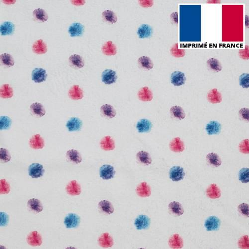 Eponge blanc cassé imprimée pois aquarelle bleu et rose