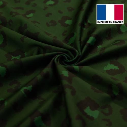 Velours d'habillement motif léopard vert monochrome