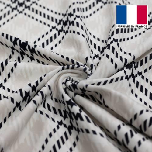 Velours d'habillement motif grand tartan bleu marine et écru