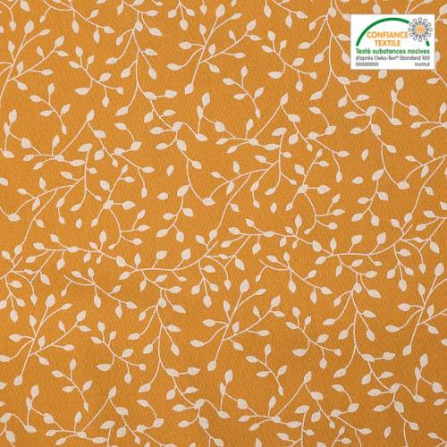Flanelle de coton ocre imprimée petites feuilles blanches