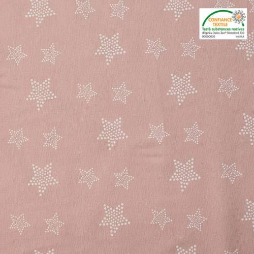 Flanelle de coton vieux rose imprimée étoiles à pois blancs