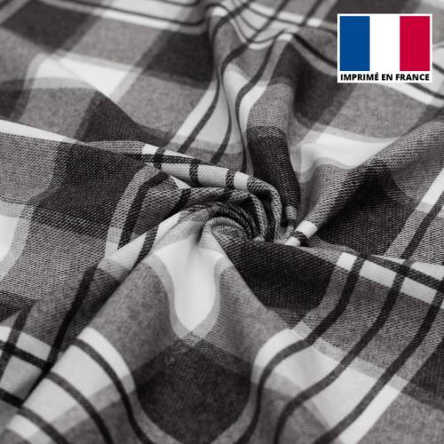 Velours d'habillement motif tartan épais gris et écru