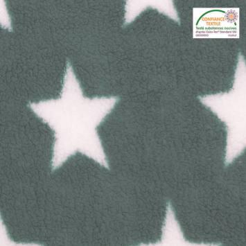 Polaire sherpa réversible vert sauge imprimée étoiles blanches