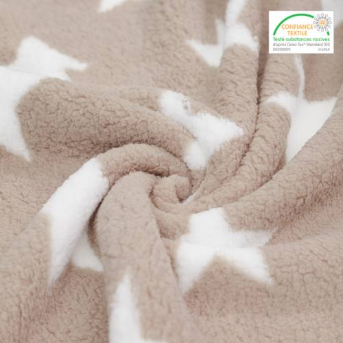 Polaire sherpa réversible grège imprimée étoiles blanches