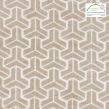 Polaire microfibre grège imprimée chevrons blancs