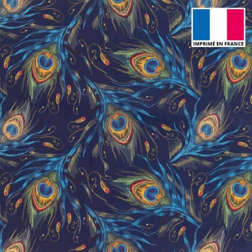 Coupon de velours ras bleu marine imprimé plume de paon 45x45cm