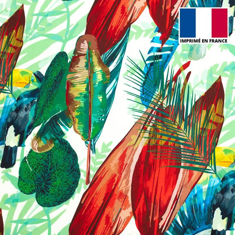 Velours ras imprimé jungle et toucan