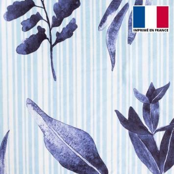 Eponge blanche imprimée rayures et feuilles bleues