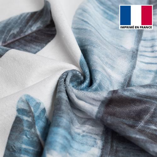 Eponge blanche imprimée feuilles de palmier bleues