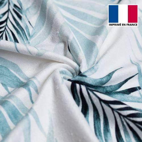 Eponge blanche imprimée feuilles nuances de bleu