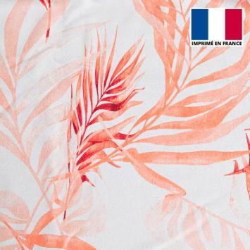 Eponge blanche imprimée feuilles nuances de rouge