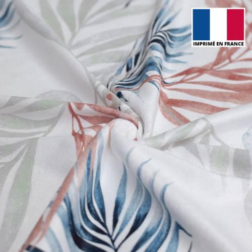 Eponge blanche imprimée feuilles bleues, vert de gris et rouges