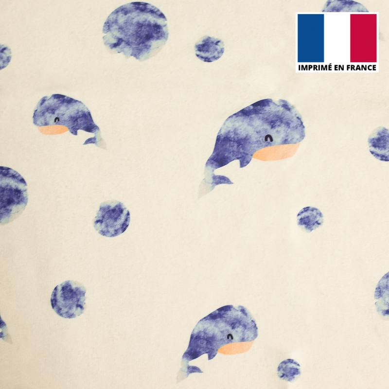 Eponge écrue imprimée bulle et baleine aquarelle bleue