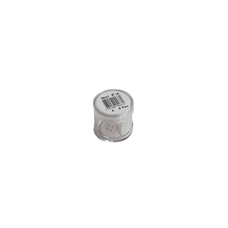 Bouton blanc rond 2 trous 15mm