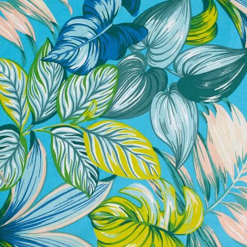 Toile coton bleue grande largeur imprimée feuilles