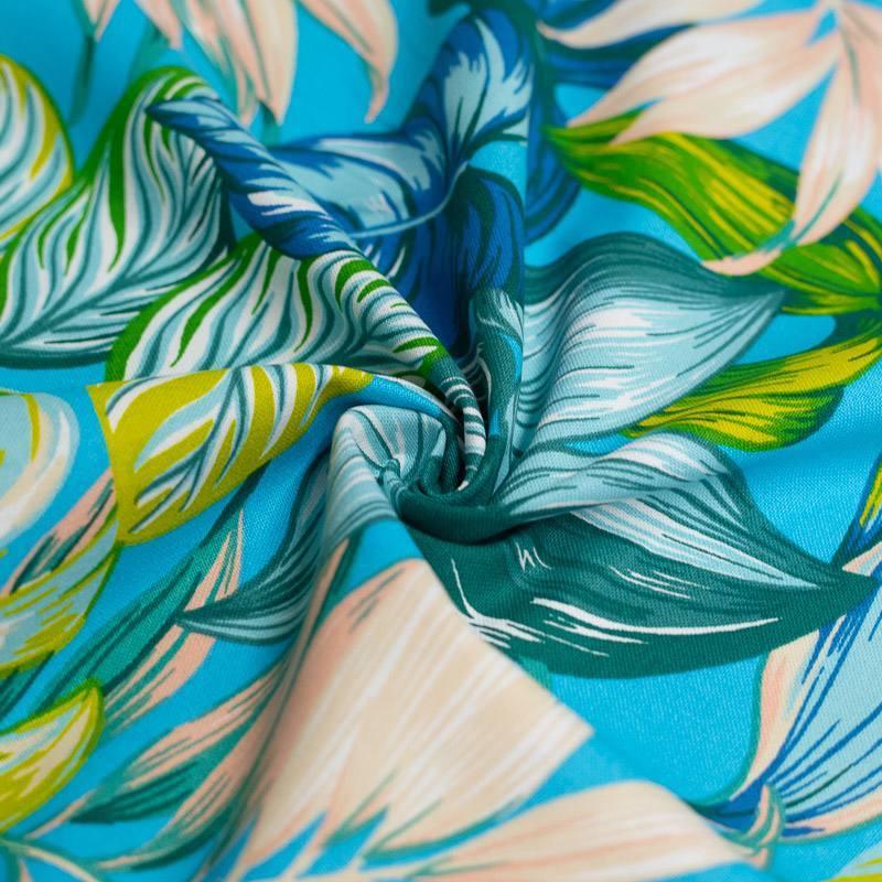 Toile coton bleue imprimée feuilles