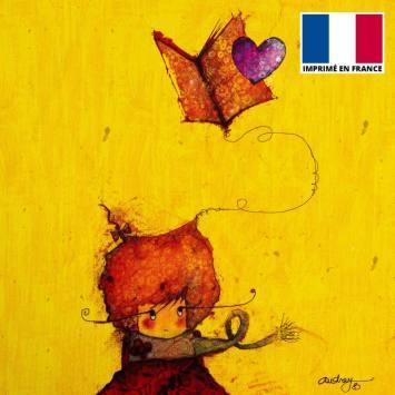 Coupon toile canvas fille et livre - Audrey Baudo