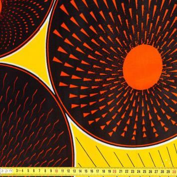 Wax - Tissu africain jaune rond orange 415