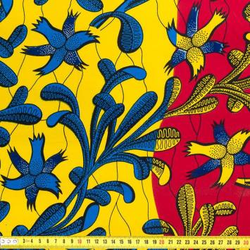 Wax - Tissu africain arbuste bleu jaune 423