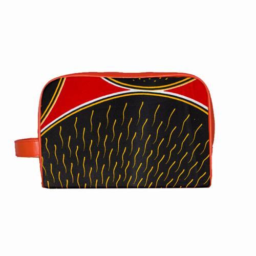 Wax - Tissu africain rouge rond noir 416