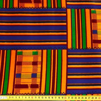 Wax - Tissu africain rayures orange et violettes 413