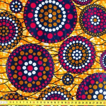 Wax - Tissu africain orange cercle rose 424