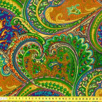 Wax - Tissu africain cachemire vert 410