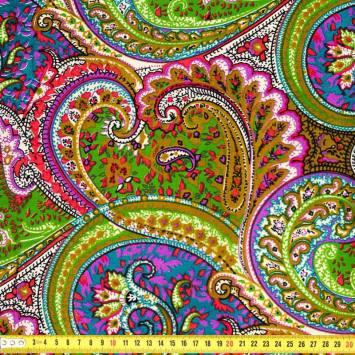 Wax - Tissu africain cachemire vert violet 412