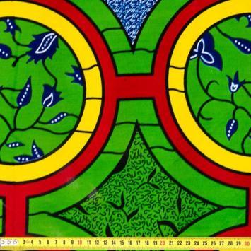 Wax - Tissu africain jaune et vert 406