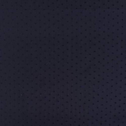 coupon - Coupon 47cm - Voile bleu marine à pois de velours