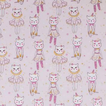 Coton lilas motif danseuse chat