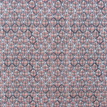 Jersey molleton motif feuille rose et marron