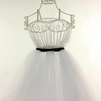 coupon - Coupon 90cm - Tulle blanc pour robe de mariée grande largeur
