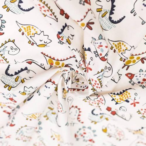 coupon - Coupon 27cm - Coton écru motif dinosaure ocre et bleu diplo