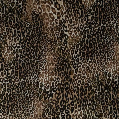 Gabardine de coton extensible nuances de marron imprimée léopard