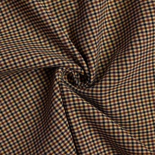 Tissu à petits carreaux beiges, caramel et noirs