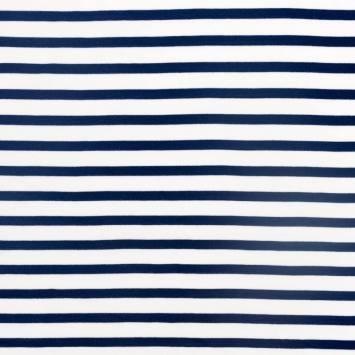 coupon - Coupon 135x120cm - Jersey viscose blanc rayé bleu