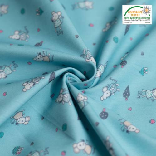 Popeline de coton bleu clair imprimée petites souris