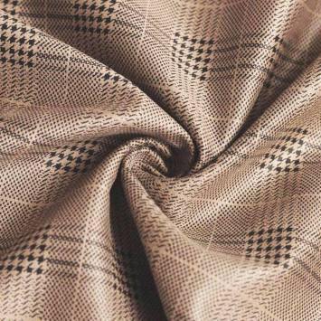 Tissu scuba suédine beige motif tartan pied de poule