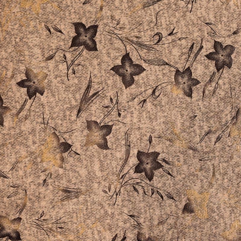 Jersey lainage rose nude chiné imprimé fleurs dorées