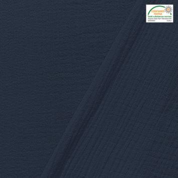 coupon - Coupon 65cm - Double gaze unie indigo