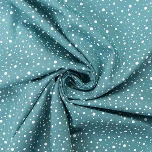 coupon - Coupon 33cm - Popeline de coton bleu givré motif rond blanc