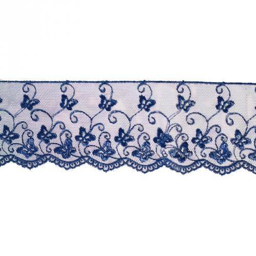 Dentelle broderie 65mm motif papillons sur tulle bleu nuit