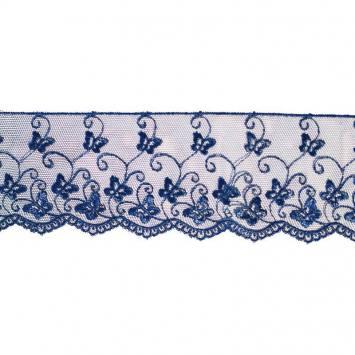 Dentelle broderie motif petits papillons sur tulle bleu nuit