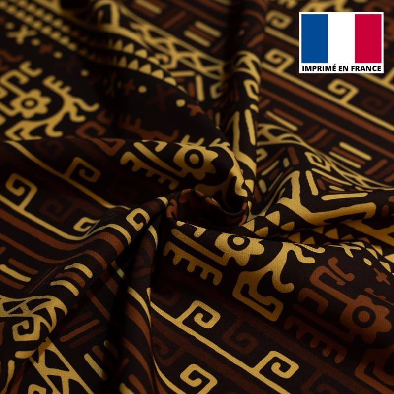 Velours ras imprimé wax géométrique beige, marron et noir tp5