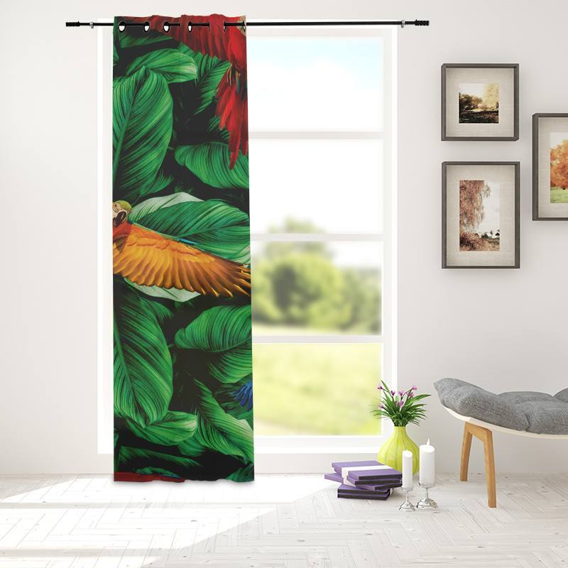 Velours ras imprimé jungle et perroquets multicolores